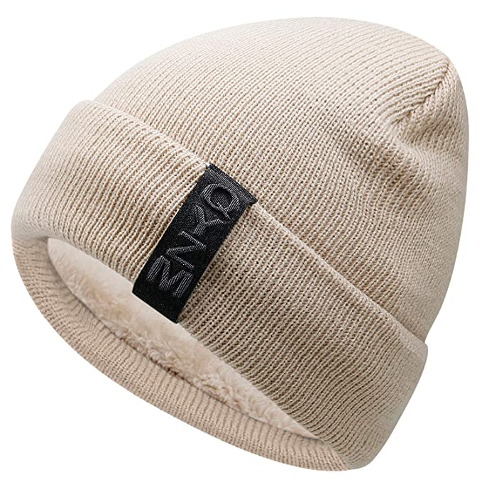 58bfb05d296d74 Hongtellor Knit Beanie Warm Thick Lined Hat Mens Winter Skull Cap Unisex  Beanie Cap at Amazon Men's Clothing store: