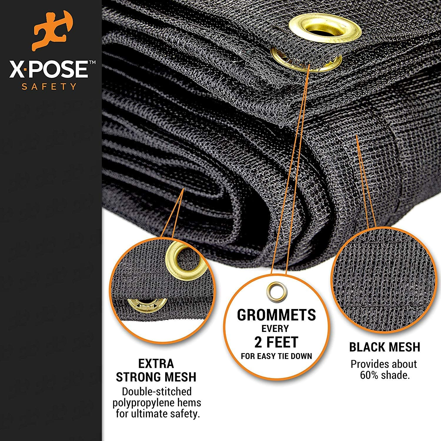 Fences Tear Resistant 12/' x 50/' Multipurpose Black Protective Cover with Air Flow Shade Xpose Safety Heavy Duty Mesh Tarp Use for Tie Downs Dump Trucks Canopies