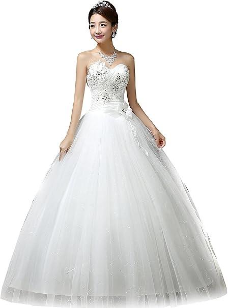 Amazon.com: Clover Bridal Sweetheart Beaded Ruched boda ...