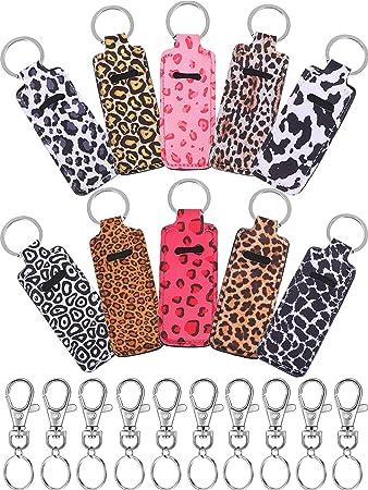 Leopard Print Chapstick Holder Lip Gloss Keychain Lip Balm Carrier