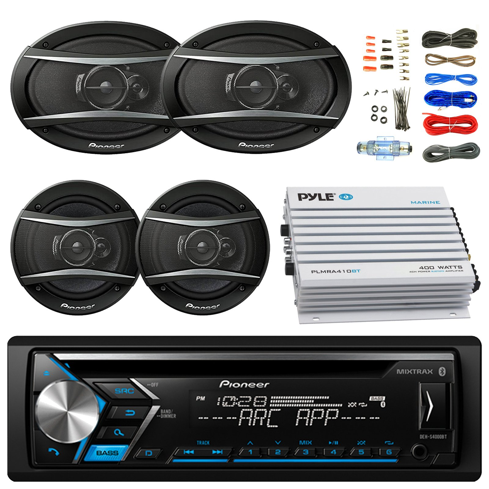 Pioneer DEH-S4000BT Bluetooth Radio USB AUX CD Player Receiver - Bundle w/ 2x TSA1676R 6.5'' 3-Way Car Audio Speakers - 2x 6.5''-6.75'' 4-Way Stereo Speaker + 4-Channel Amplifier + Amp Kit