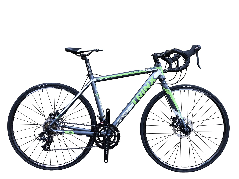 TRINX(トリンクス) 【ロードバイク】 Wディスクブレーキ デュアルコントロール SHIMANO 軽量アルミフレーム ヒルクライム シクロクロス CLIMBER1.0 グレー/グリーン Climber1.0-17 グレー/グリーン 480mm B078Y2PJRY