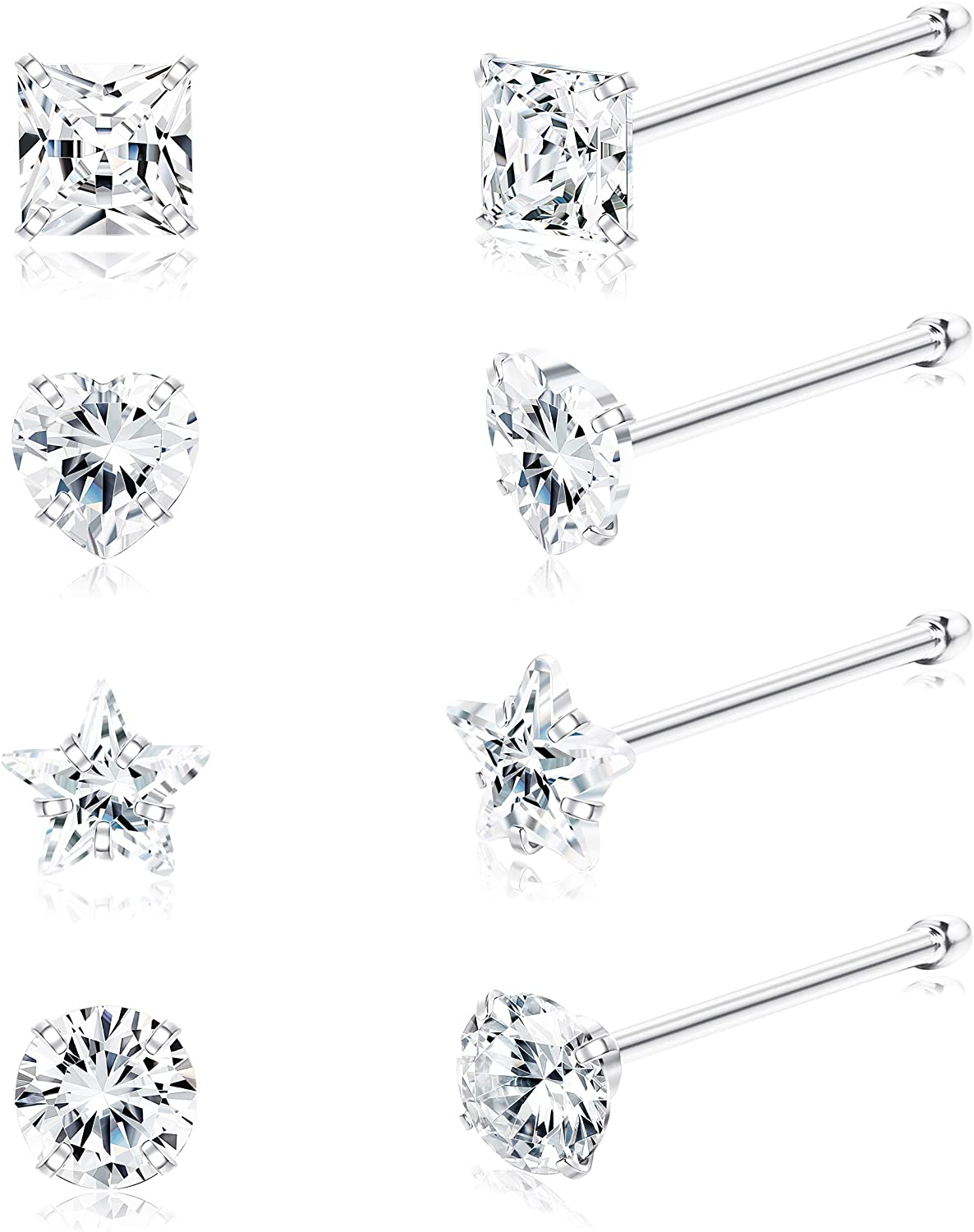 PARTNER White Gold Tone White with Cubic Zirconia Rhinestone Vogue Square Stud Earrings Birthday gifts for women girls teen