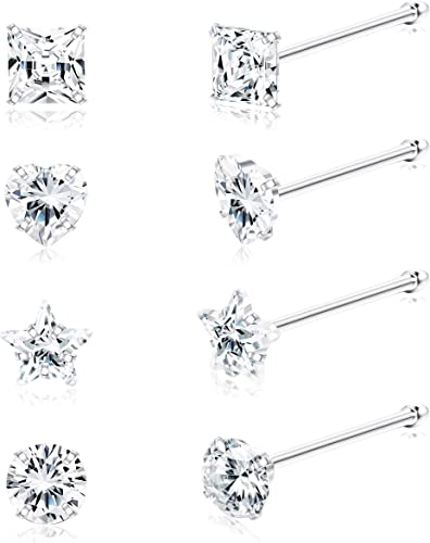925 Sterling Silver 18 Types to Choose 1 x Round Shaped Crystal Nose Studs