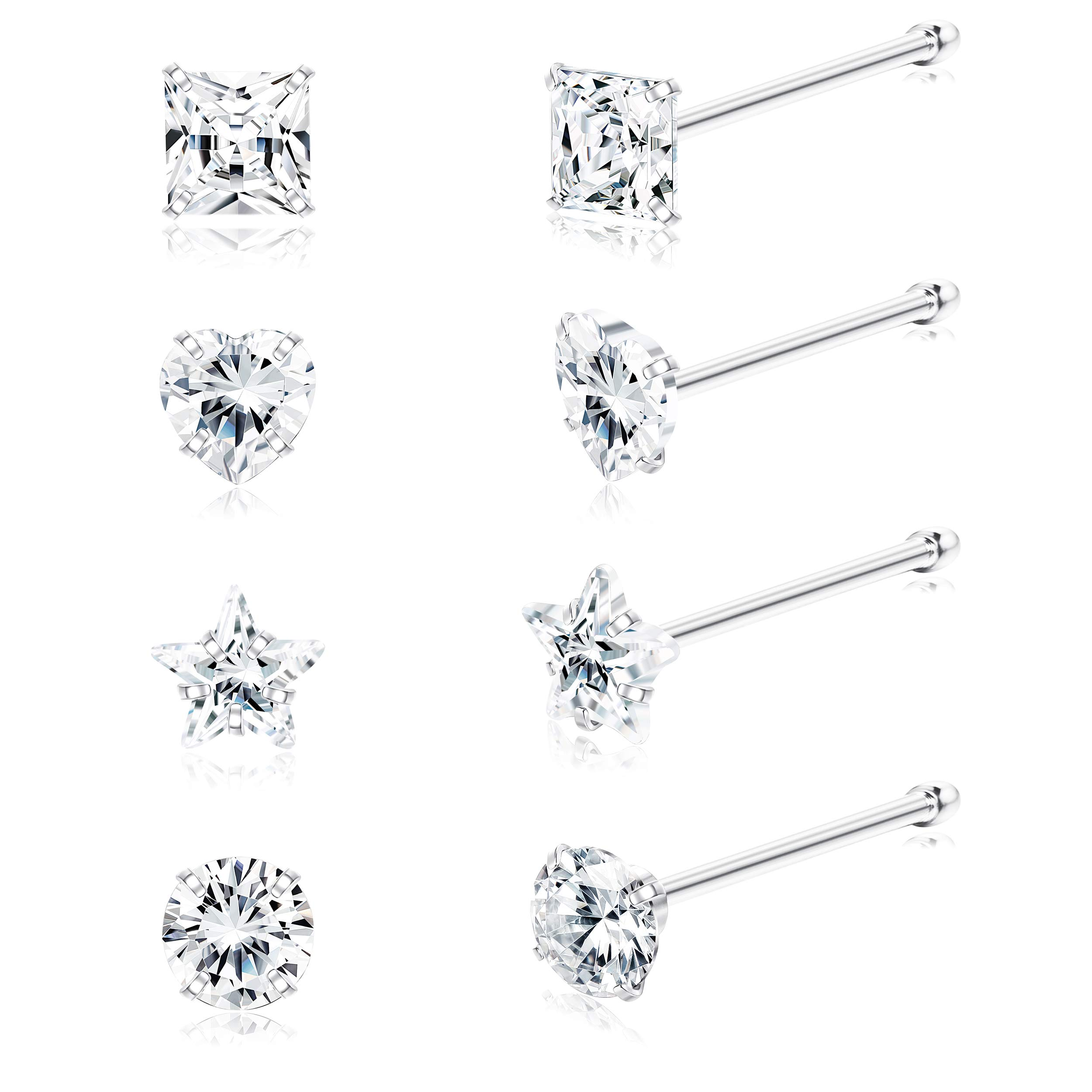 Sllaiss 8Pcs 22G Sterling Silver Nose Rings Studs 3mm Assorted Shapes CZ Inlaid Nose Body Piercing Jewelry Hypoallergenic by Sllaiss