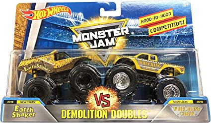 Amazon Com Hot Wheels Monster Jam Demolition Doubles Earth Shaker Vs Wrecking Crew 1 64 Scale Toys Games