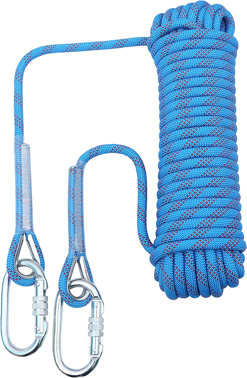 orgphys Rock Climbing Rope 32 Feet Blue Diameter 10mm High-Strength Rappelling Rope for Mountaineering Escape Training Rescue