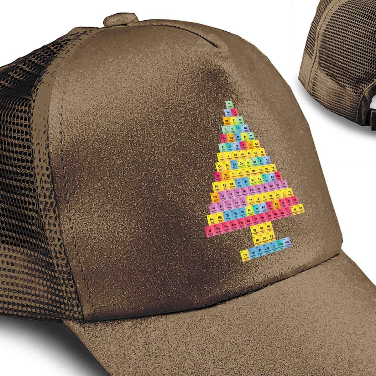 Christmas Tree Periodic Table Chemis Tree Ponytail Messy High Bun Hat Ponycaps Baseball Cap Adjustable Trucker Cap Mesh Cap