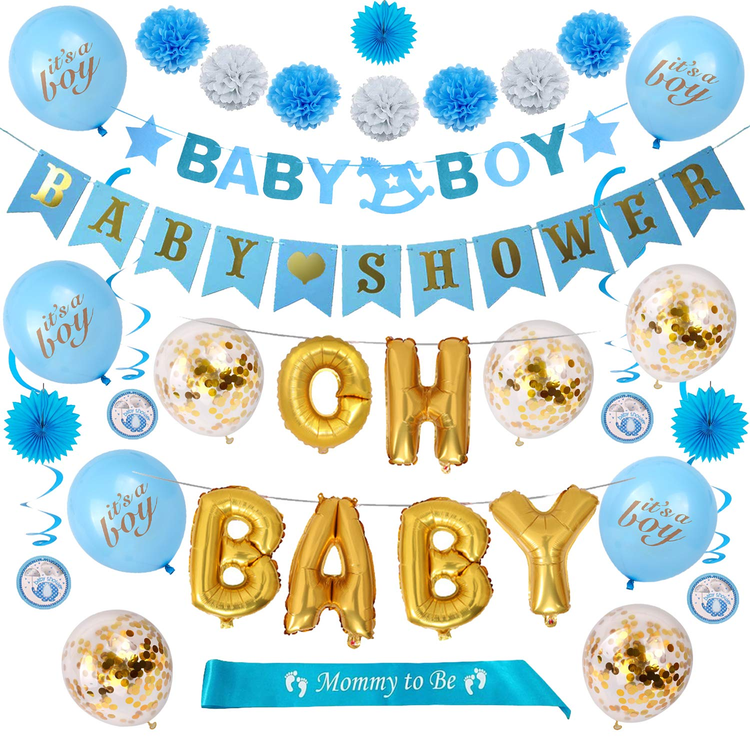 Dekority Baby Shower Decorations for Boy, Baby Shower Set with Elephant Kit, Oh Baby Foil Balloon, Baby Boy and Baby Shower Banners, It's a Boy and Confetti Balloons, Mommy to Be Sash, Tissue Paper Pom Poms and Paper Fans, Blue, White and Gold Decor by Dekority