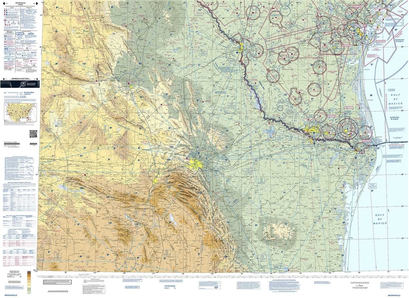 FAA Chart: VFR Sectional BROWNSVILLE SBRO (Current Edition)