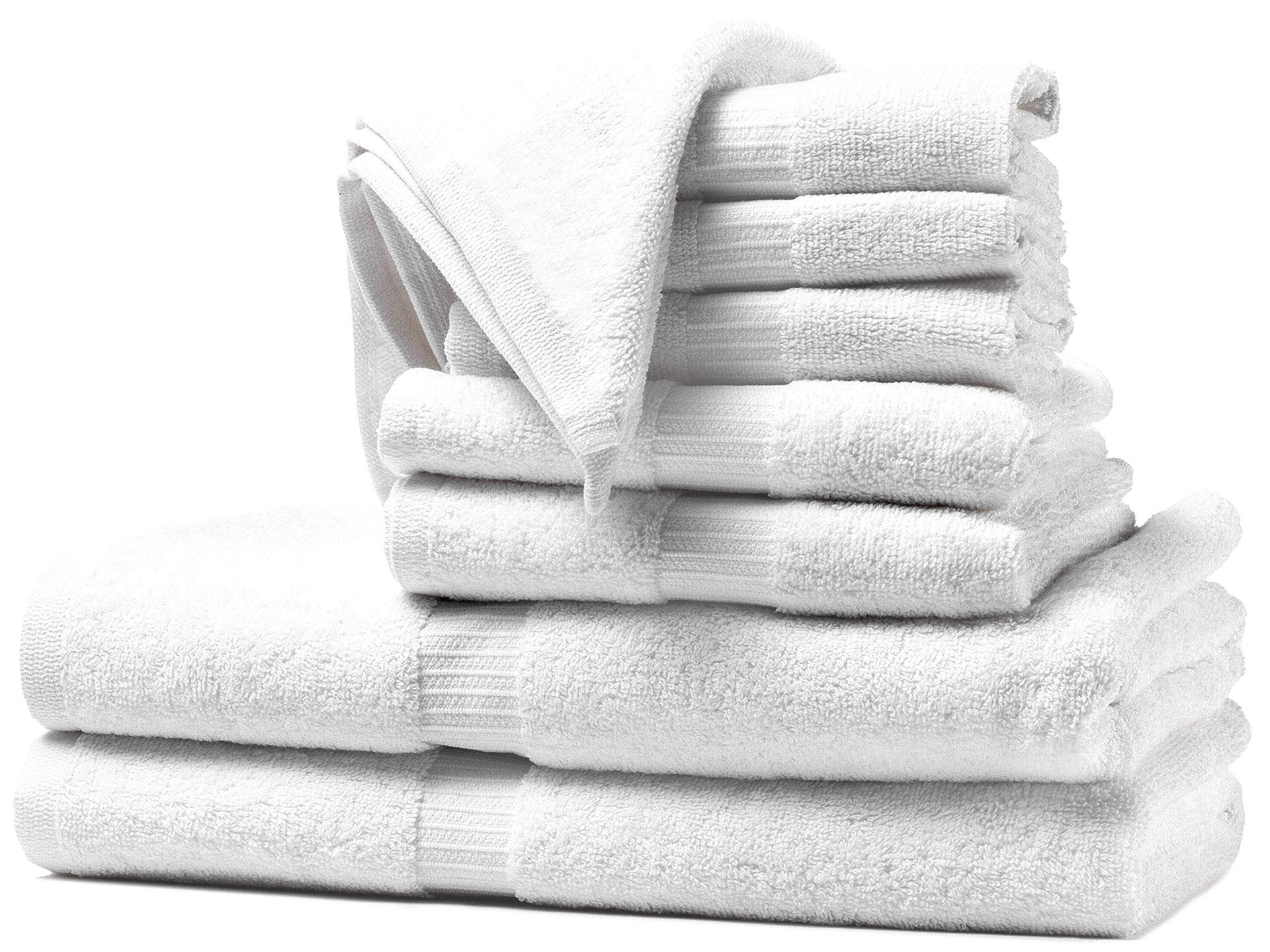 White Spindle Towels Hotel Collection 8 Piece Towel Set, Super Soft, Absorbent and Long Lasting Towel, Free of Harmful Chemicals (Oeko-TEX Approved)