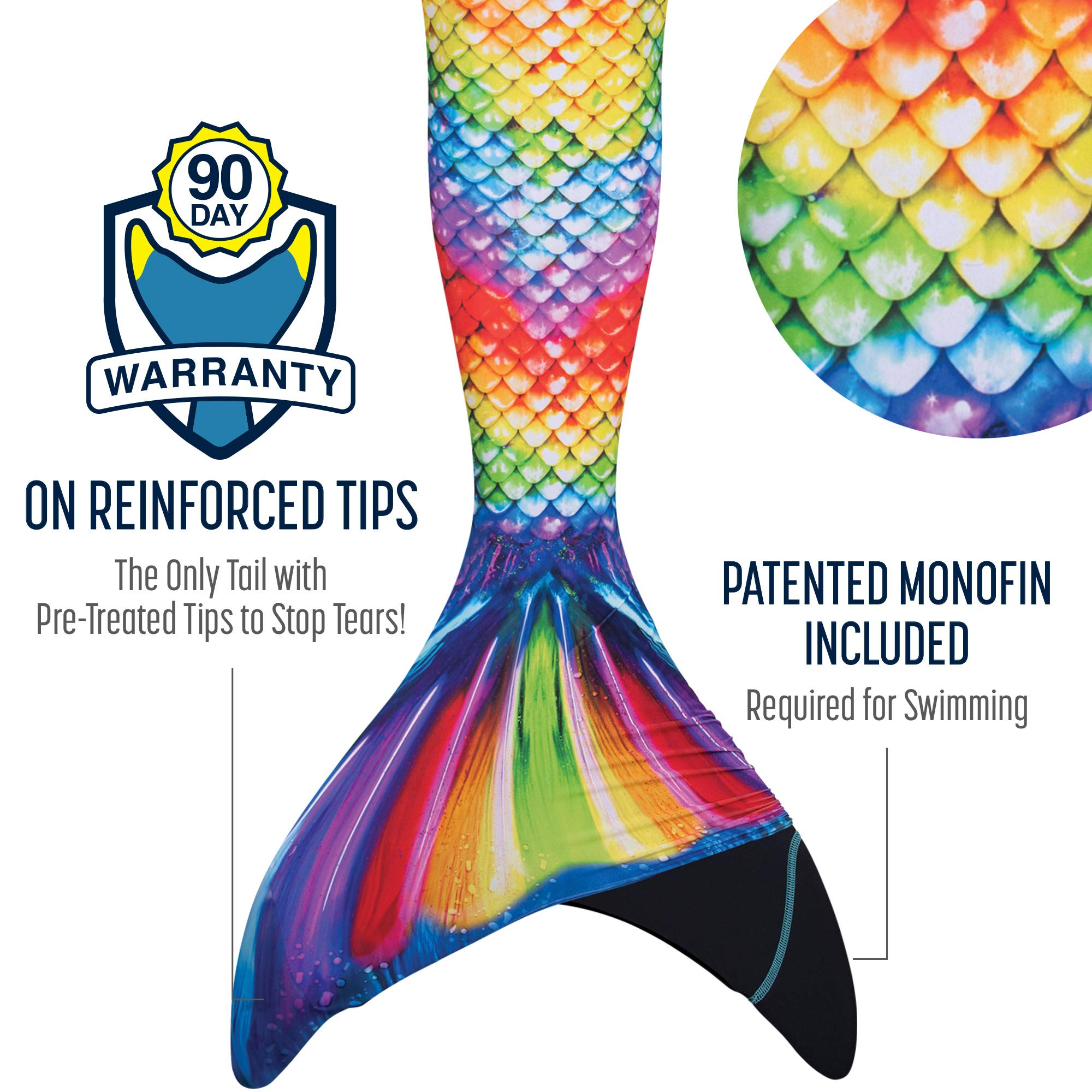 Fin Fun Mermaid Tail, Reinforced Tips, with Monofin, New Rainbow Reef, Adult XS by Fin Fun (Image #2)