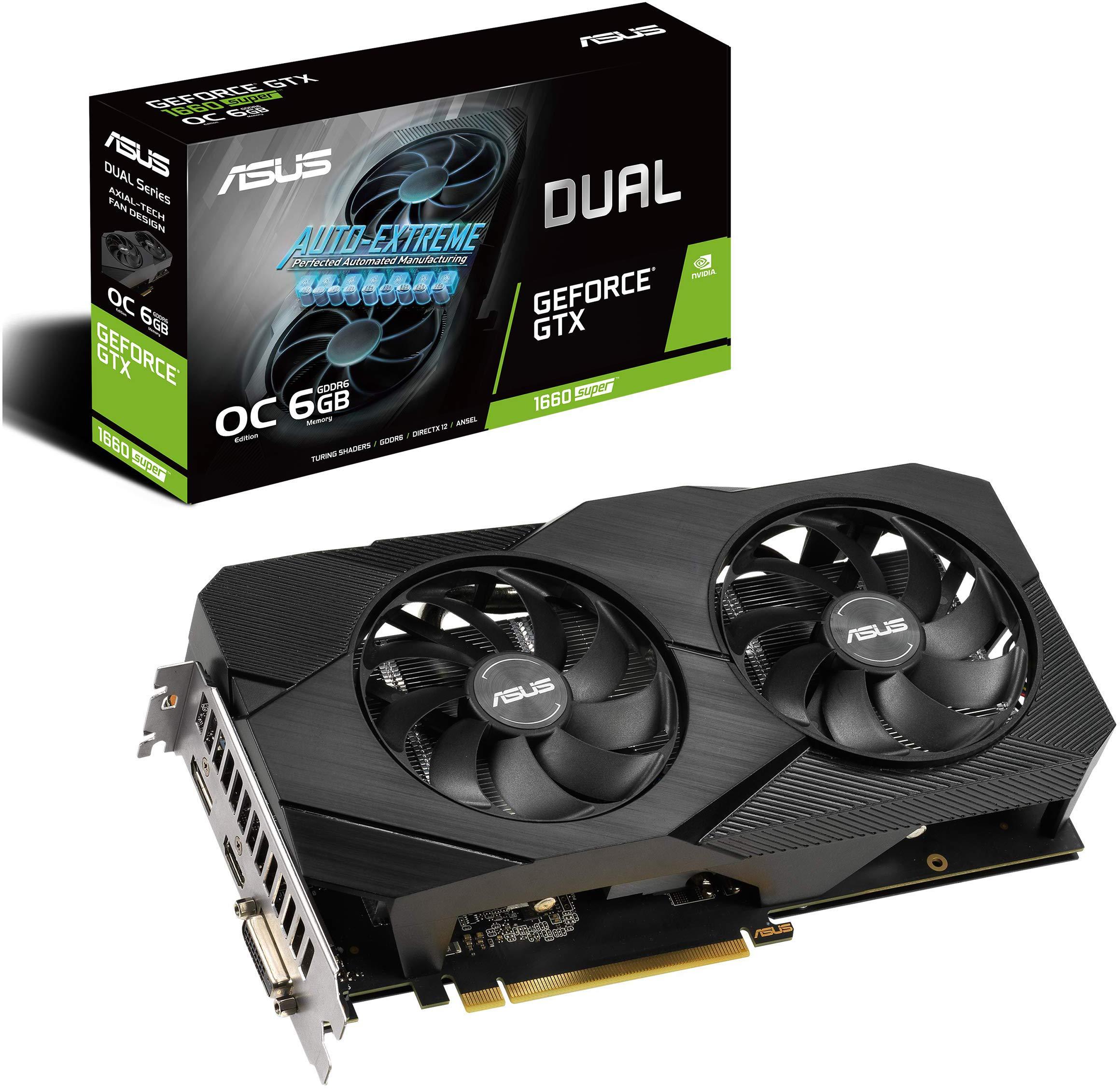 ASUS GeForce GTX 1660 Super Overclocked 6GB Dual-Fan Evo Edition VR Ready HDMI DisplayPort DVI Graphics Card (DUAL-GTX1660S-O6G-EVO) Dual GTX 1660 SUPER OC
