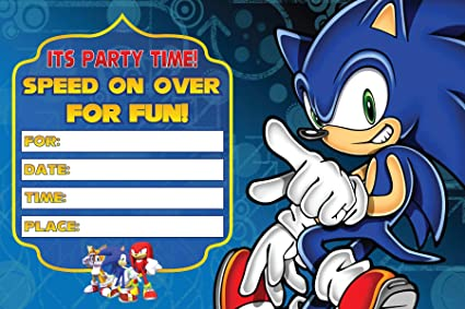 Amazon Com Sonic Speed On Over Invitation Cards 20 Fill In Invites For Kids Birthday Bash And Theme Party 10x15 Cm Postcard Style Health Personal Care