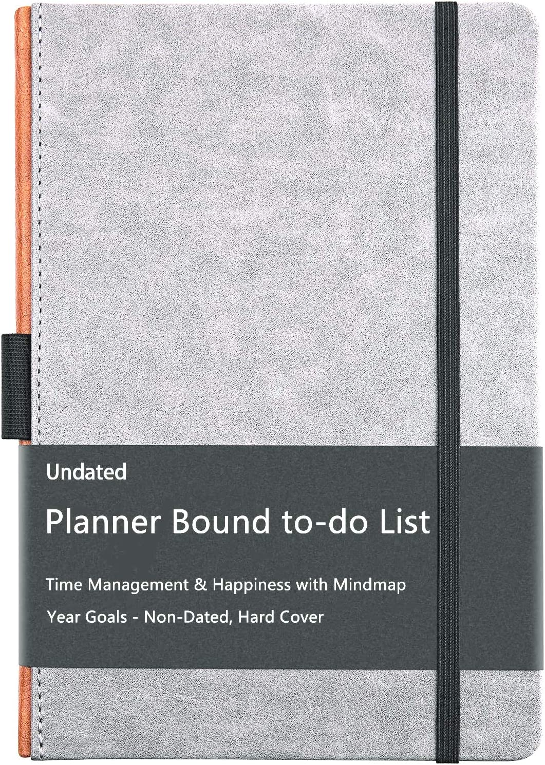 Planner Bound to-do List - Daily Calendar Planner to Increase Productivity, Time Management & Happiness with Mindmap & Year Goals - Non-Dated, Hard Cover, Gray