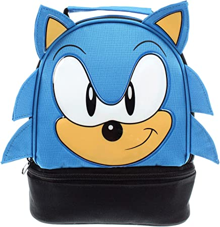 Sega Sonic The Hedgehog Lunch Bag Big Face Dual Compartment Lunch Box Kit Amazon Co Uk Kitchen Home