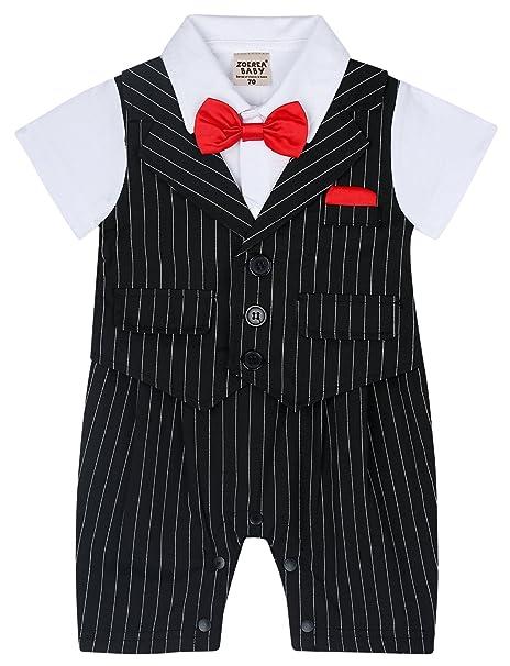9dbbd7d845ad ZOEREA Baby Boy Stripe Suits Bow-Tie Short Sleeve Shirt Infant Jumpsuits  Label 95