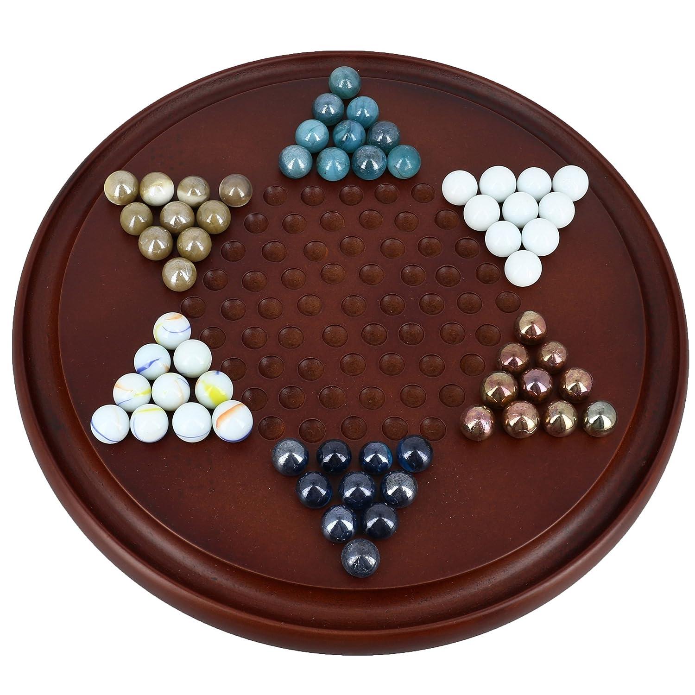 SET 6 - Spiel Chinese Checkers mit Murmeln Handgefertigte Holzspielzeug aus Indien