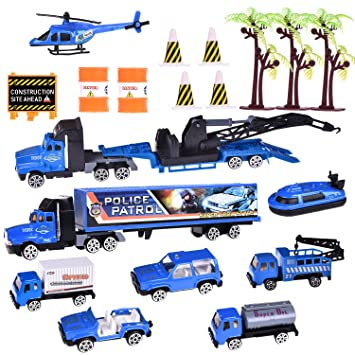 Diecast Car Set Police Patrol Army Racer Colorful Hot Tow Truck - Car show goody bag stuffers