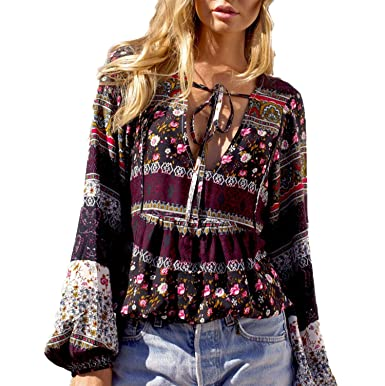 d7677a75c6b31a Amazon.com: Women's Bohemian Floral V Neck Long Bell Sleeve T-Shirts Casual  Ruffles Top Blouse: Clothing