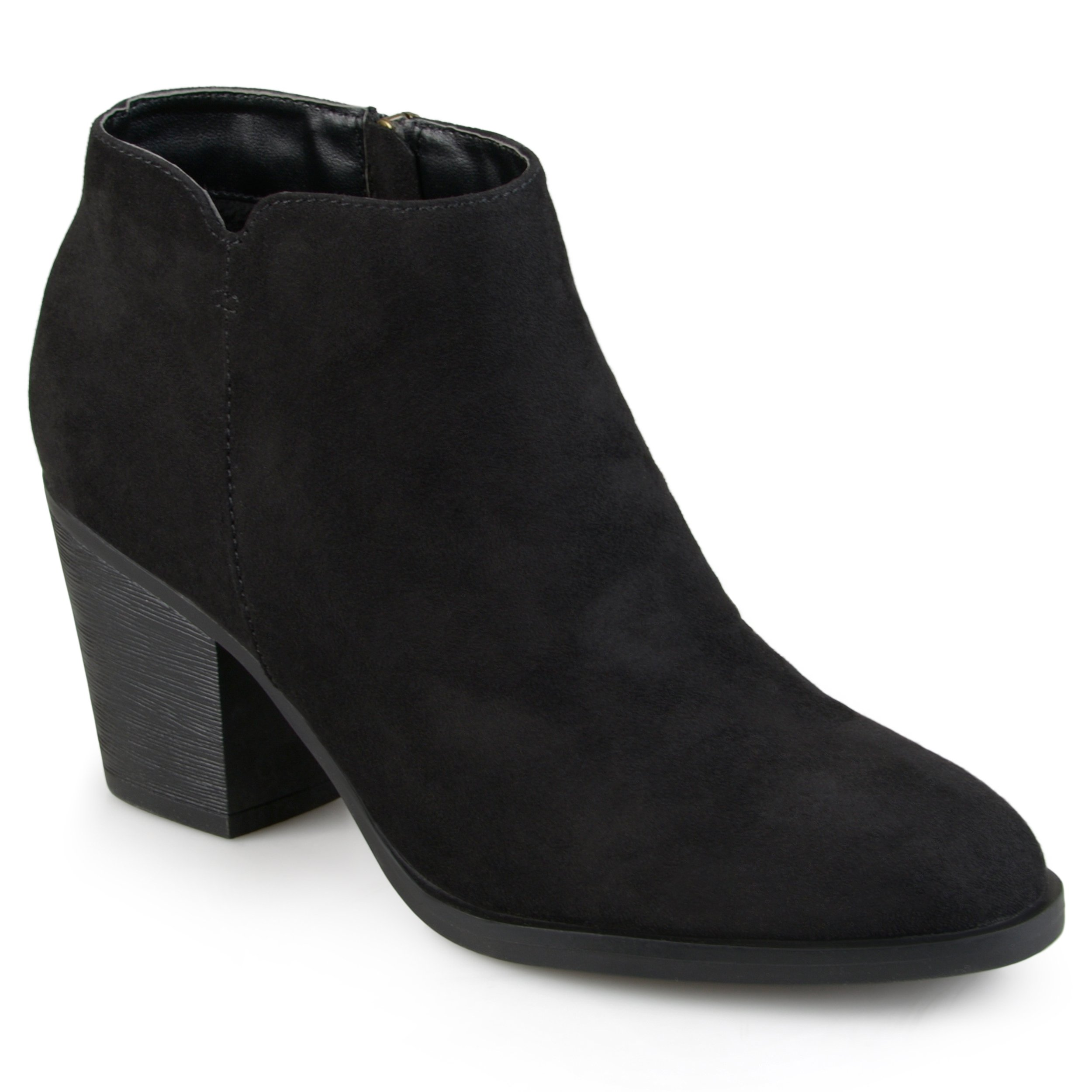 Journee Collection Womens High Heeled Round Toe Chunky Heel Ankle Booties Black, 7 Regular US