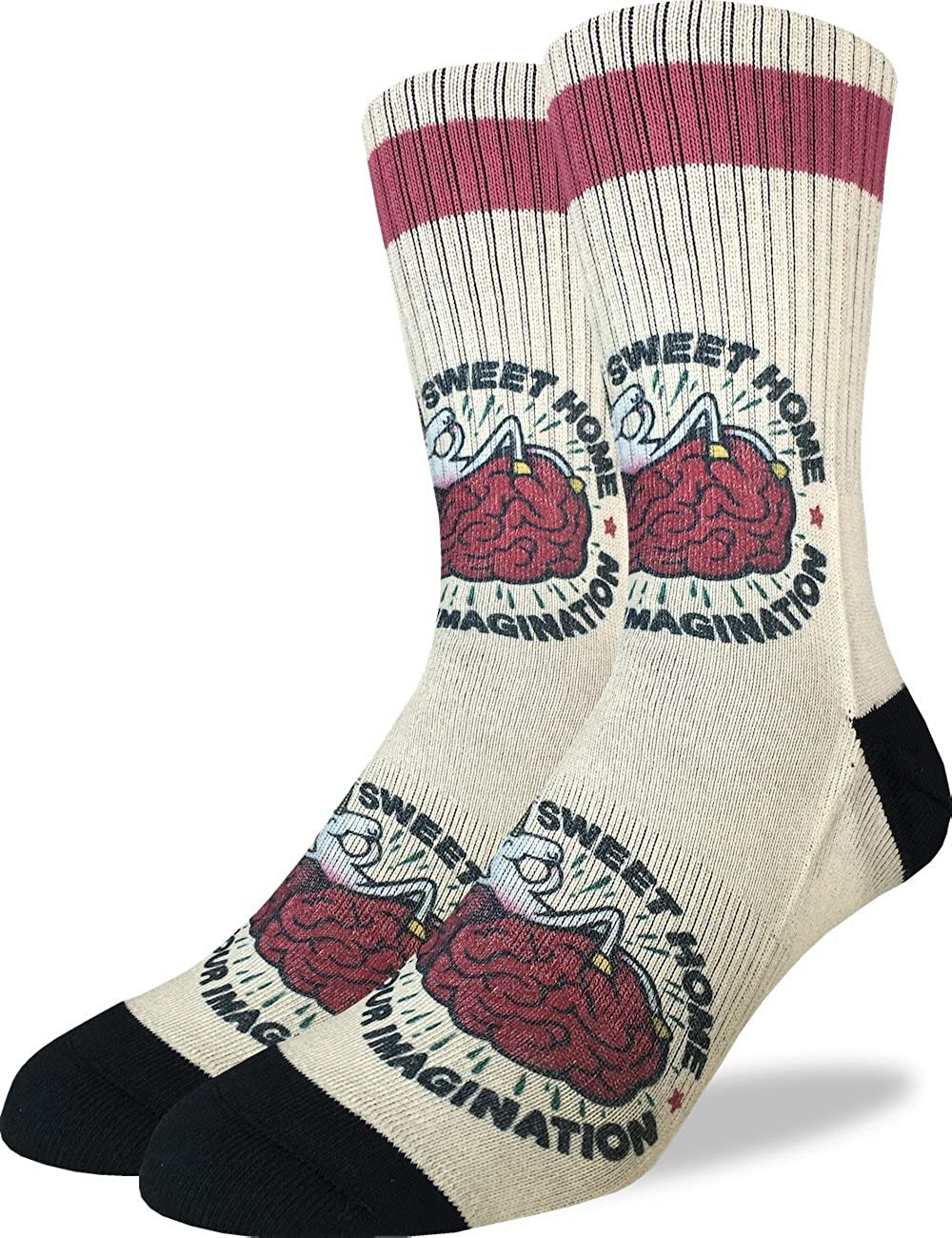 Yellow Good Luck Sock Mens Imaginary Unicorn Crew Socks Adult Shoe Size 8-13