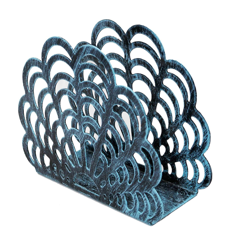 モダンメタルシェル型ナプキンホルダー 卓上ペーパータオル 自立ディスペンサー ブルー NH1005TURQ  ターコイズ B07QP77YDB