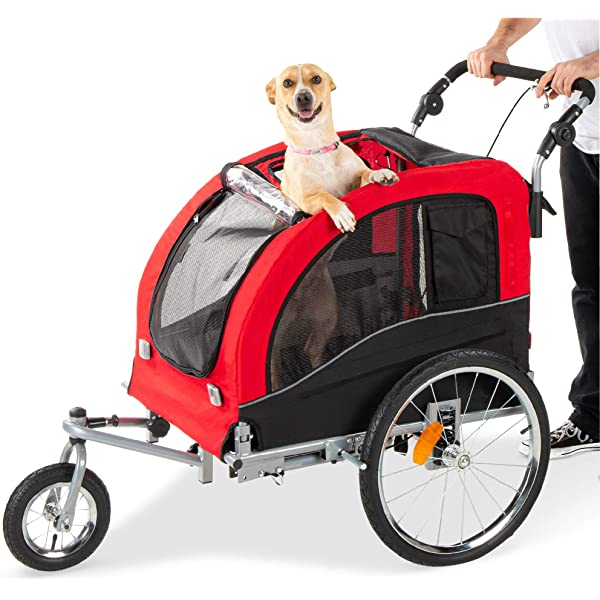 Fiximaster 2 in1 Large Pet Bicycle Trailer and Jogger Travel Carrier 10202 YELLOW