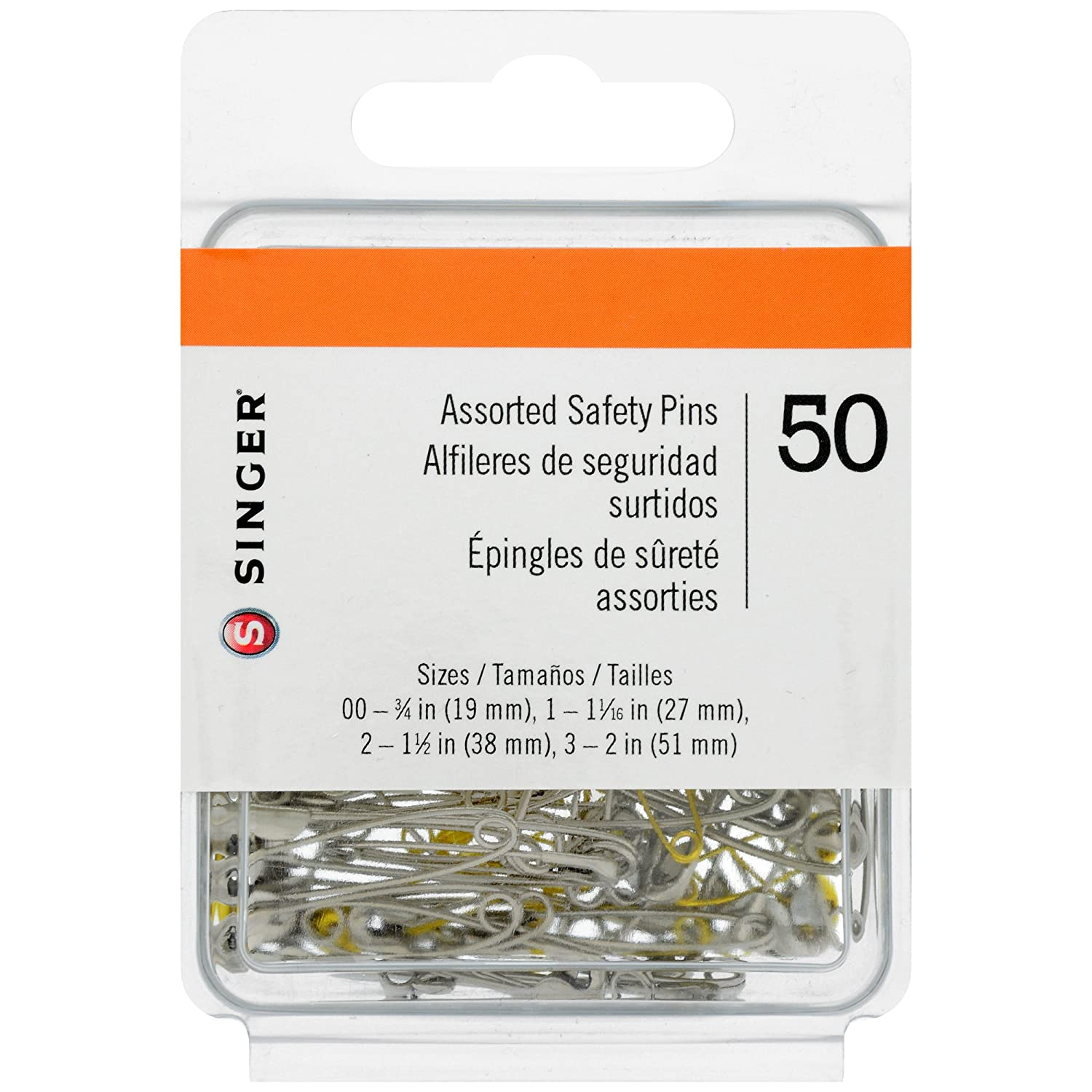 Singer 225 Assorted Steel and Brass Safety Pins, Multisize, 50-Count Dyno Merchandise 00225