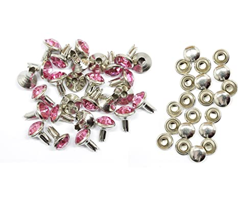 8mm 10//50pcs Crystal Diamante Rivets Studs for Decoration of Leather Bags Shoes