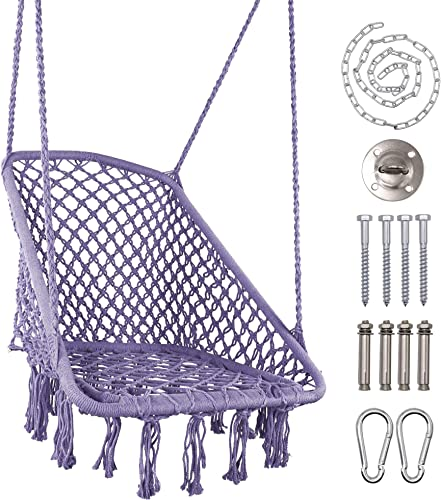 LAZZO Square Hammock Chair Hanging Knitted Mesh Cotton Rope Macrame Swing,with Hanging kit and Chain, 260 Pounds Capacity,for Bedroom, Outdoors, Garden, Patio, Yard. Child, Girl, Adult Purple