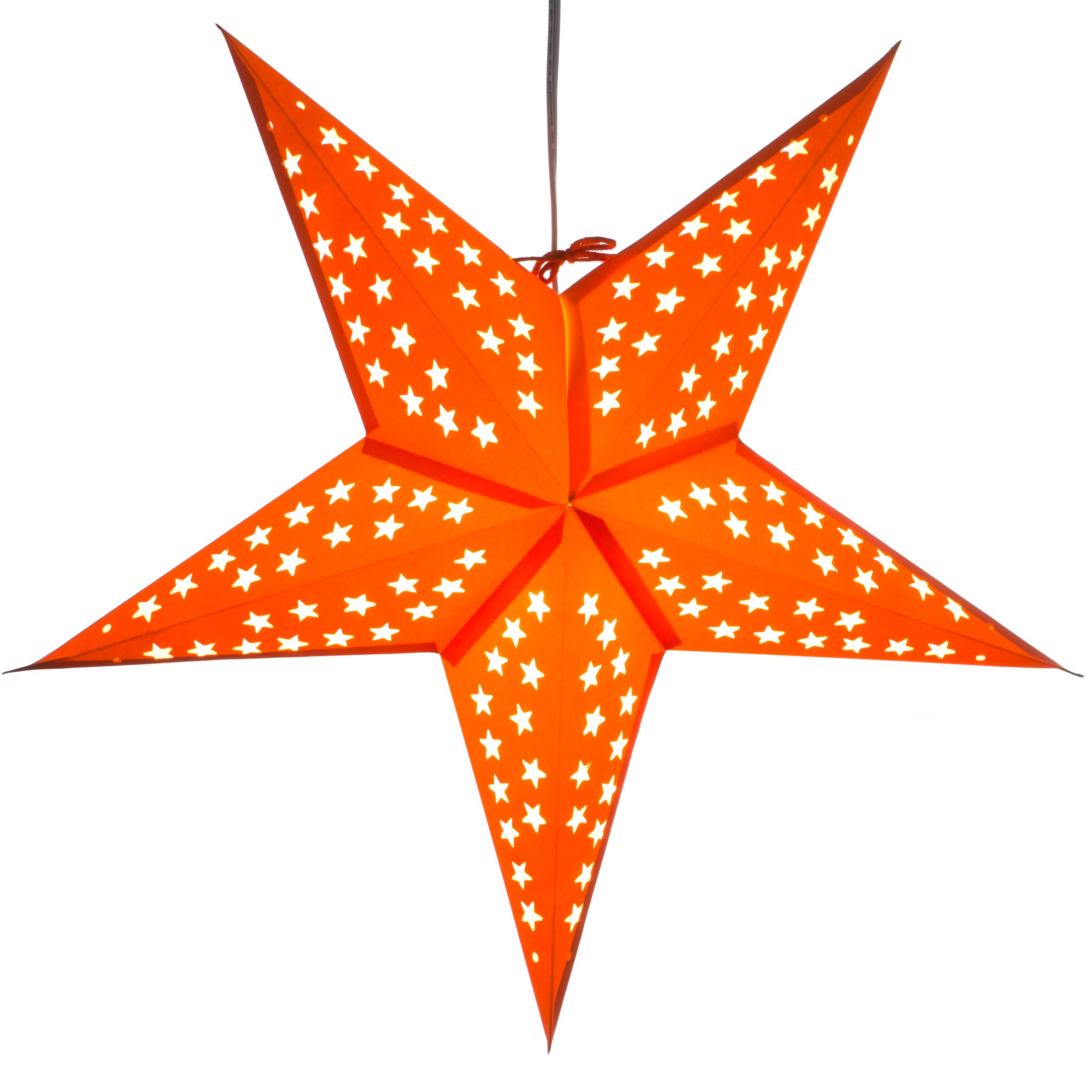 Paper Star Light Lamp Lantern with 12 Foot Power Cord Included (Orange)