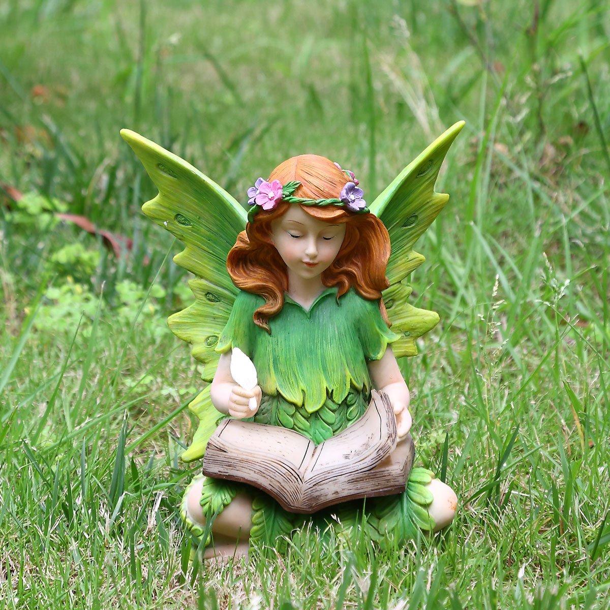 Ivy Home Solar Power Fairy Schooling Garden Statuary