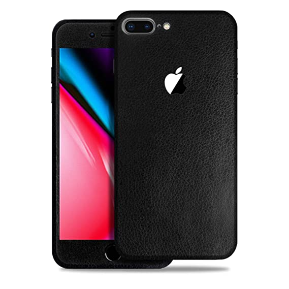 half off b5419 3c5d5 SOJITEK Apple iPhone 8 Plus Black Leather Texture Protective Vinyl Skin  Decal Skins & Wraps for Front/Back Protection