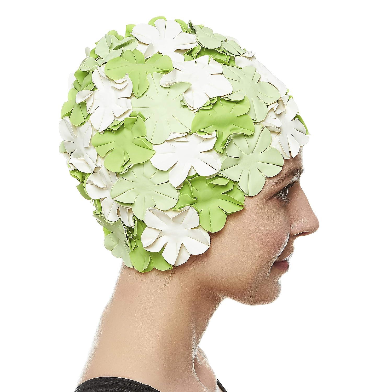 Ladies Swimming Hat Swim Cap Bathing Cap Flowers Pretty Vintage Style Non Pull