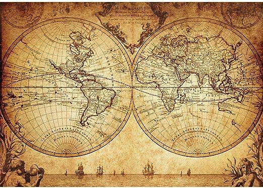 Empapelado fotográfico a modo de cuadro para la pared, en diseño de mapamundi, estilo vintage y de 300 x 210 cm (N.º 076): Amazon.es: Bricolaje y herramientas