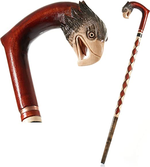 Eagle 90 cm Bast/ón de madera tallado a mano con mango curvado con dise/ño de una persiana madera Calidad fabricada en la UE