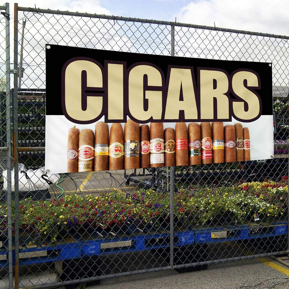 Vinyl Banner Multiple Sizes Cigars Business B Business Outdoor Weatherproof Industrial Yard Signs Brown 10 Grommets 60x144Inches
