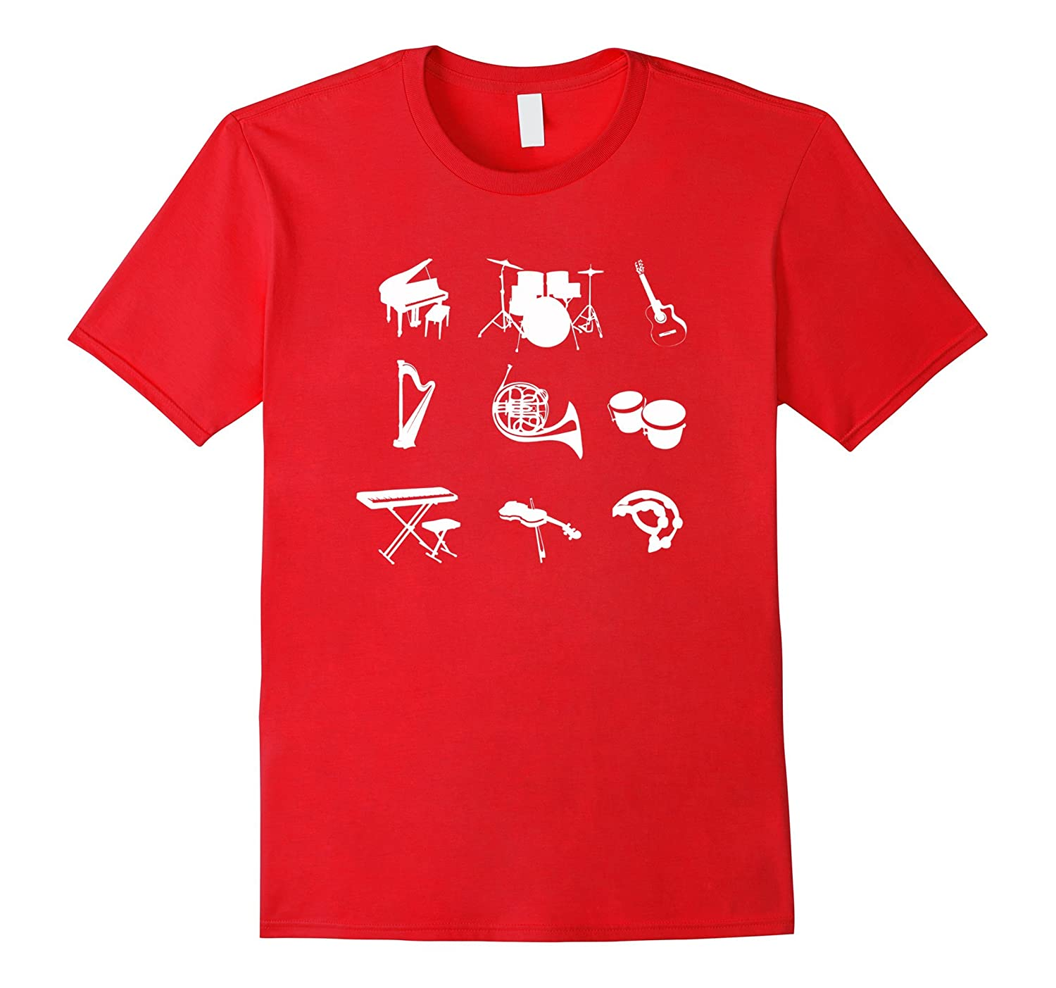 Musical Instrument T-Shirt - Guitar Drums Bass Piano Trumpet-TH