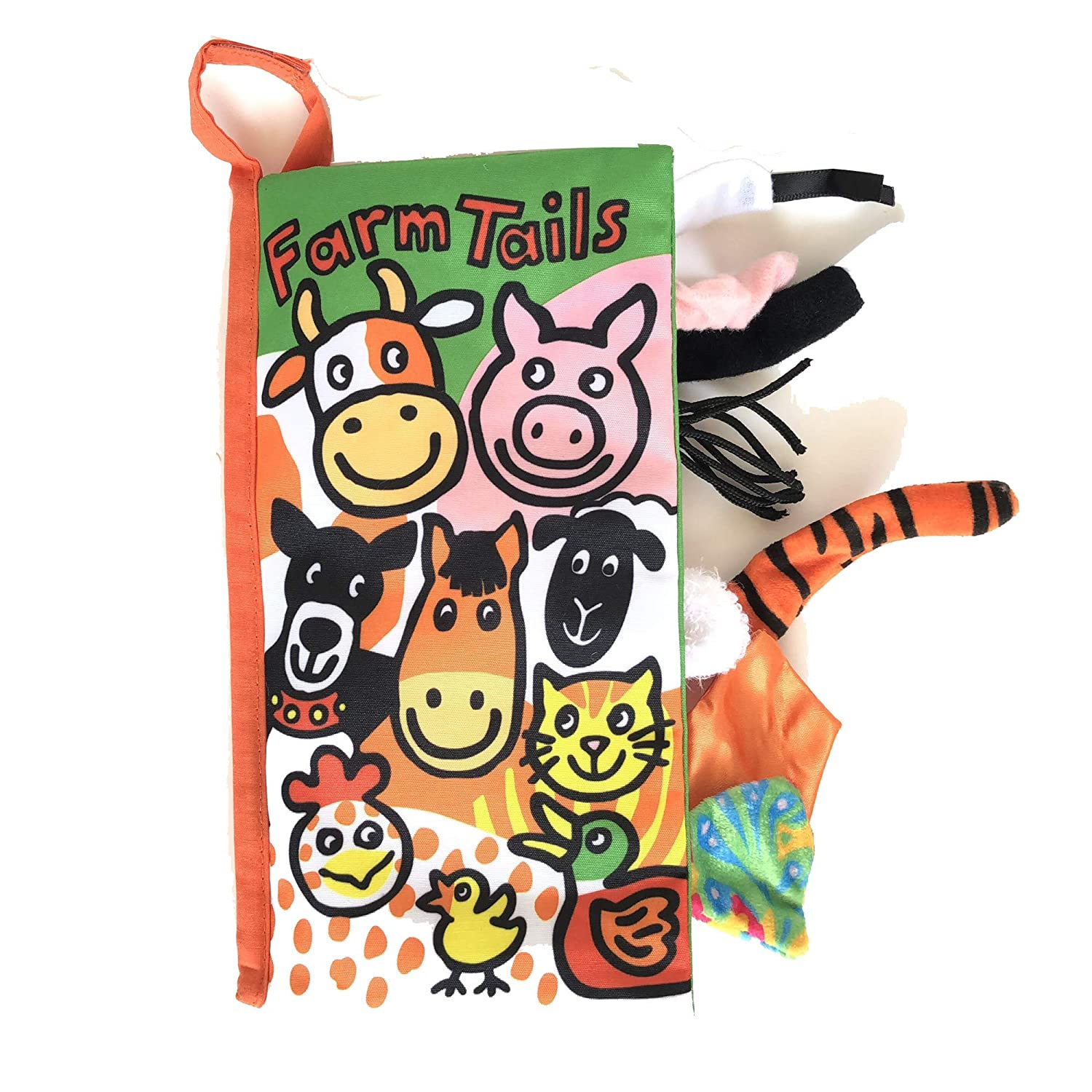 Soft Cloth Book Crinkle Animals Tails for Babies Infants Toddlers, Early Education Toys for Boy & Girl, Touch and Feel Activity (Snowy Tails) MY07106-TG