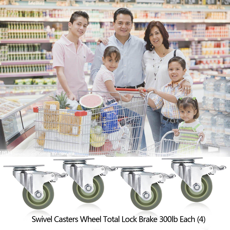 Voluker 4 x100mm ruedas muebles,ruedas giratorias con freno Capacidad de carga m/áxima 400 KG