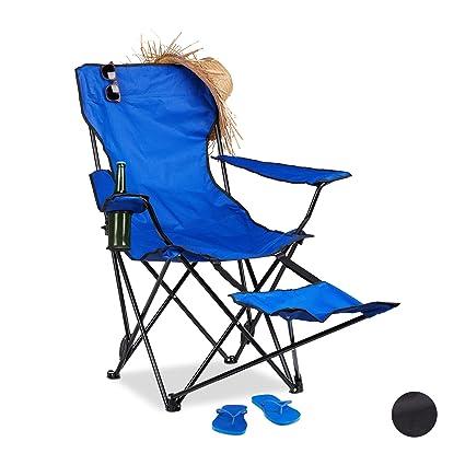 Angelstuhl Campingstuhl mit Fu/ßst/ütze Camping Angelhocker Campinghocker blau