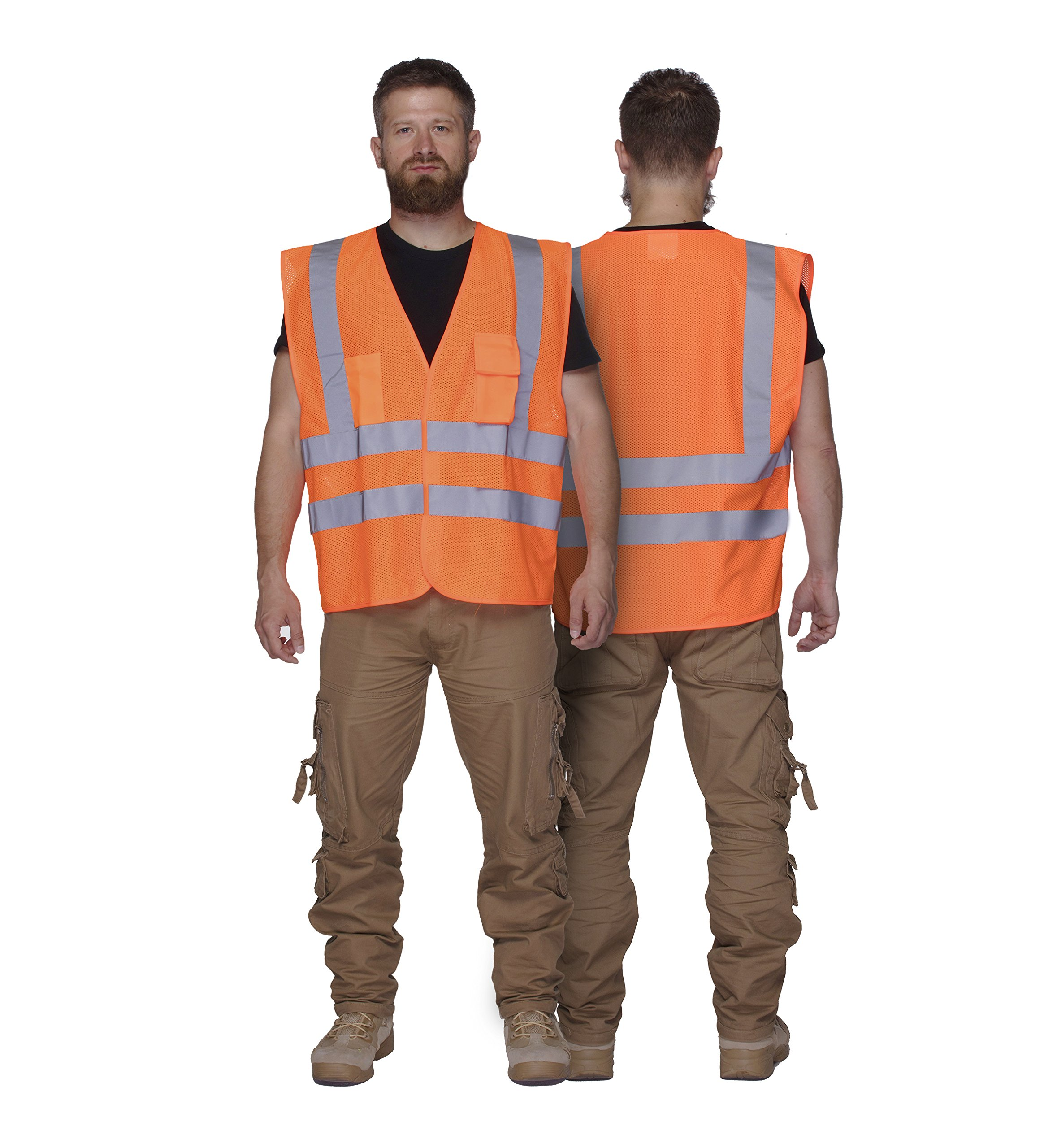 XSHIELD XS0006,High Visibility Mesh Safety Vest with Silver Stripe,ANSI/ISEA 107-2015 Type R Class2 Not FR,Pack of 5 (XL, Orange) by X-Shield (Image #3)