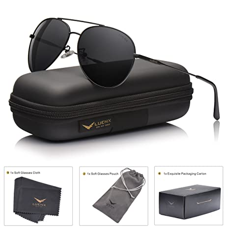 bd59bf0bf15 LUENX Men Women Aviator Sunglasses Polarized Non-Mirrored All Black Lens  Metal Frame UV 400