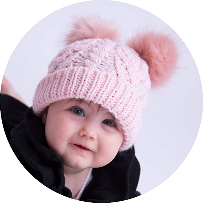 d4d61c8ab Amazon.com  Huggalugs Baby and Toddler Girls Fluffer Double Pom Pom ...