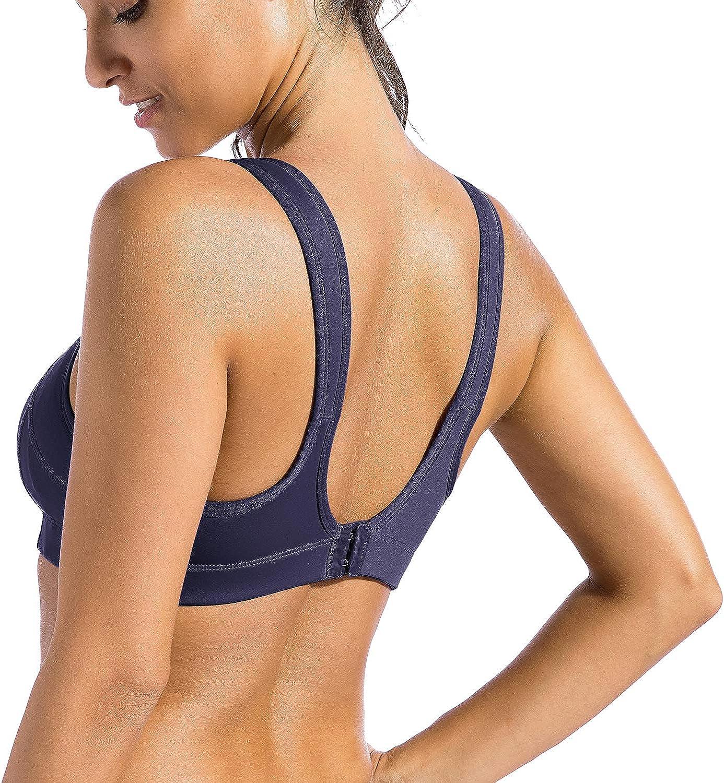 SYROKAN Women/'s Sports Bra Bounce Control Wirefree High Impact Maximum Support
