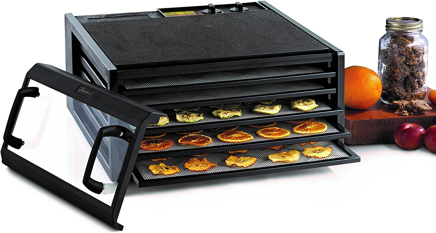 Excalibur 3526TCDB 5-Tray Electric Food Dehydrator with Clear Door for Viewing Progress Features 26-Hour Timer Temperature Settings and Automatic Shut, Black