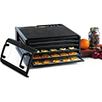 Excalibur 3526TCDB 5-Tray Electric Food Dehydrator with Clear Door for Viewing Progress Features 26-Hour Timer Temperature Settings and Automatic Shut Off Made in USA, Black