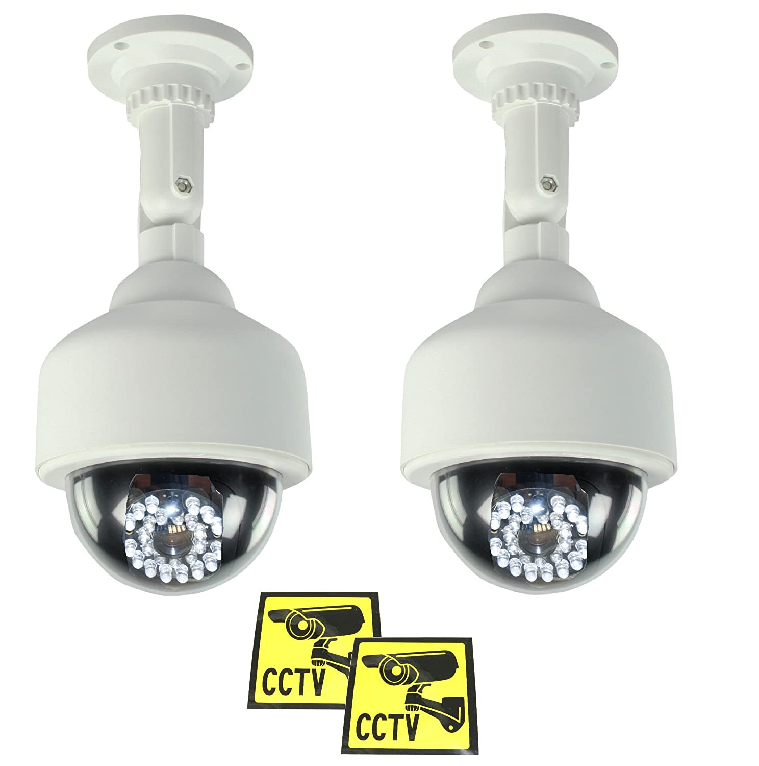 2 PACK Ex-Pro Black Dummy//Fake CCTV Security Dome Camera With built-in Flashing LED