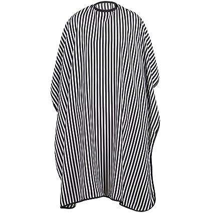 TRIXES Vestido de Peluquería Largo Completo - Negro y Blanco - Capa de Peluquería/Barbería